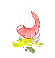 Olive oil shrimps garlic herbs vector