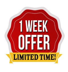 one week offer label or sticker vector image