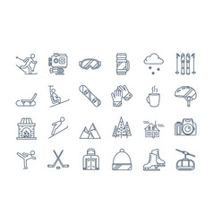 Outline winter sport icons set vector