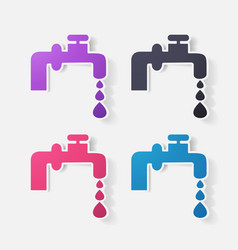 Paper clipped sticker faucet vector