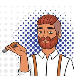 pop art man smoking igar comic vector image