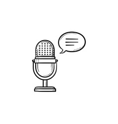 radio microphone hand drawn outline doodle icon vector image