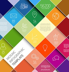 Raiinbow mosaic infographic template vector