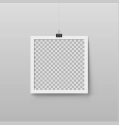 Realistic blank photo frame hanging vector