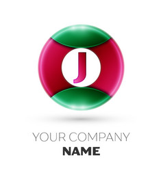 Realistic letter j logo in colorful circle vector