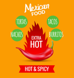 red chili pepper mexican food hot taco vector image