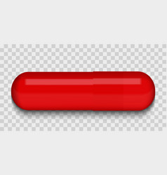Red medical pill on a transparent background vector
