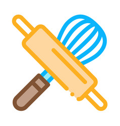 Rolling pin and manual mixer icon thin line vector