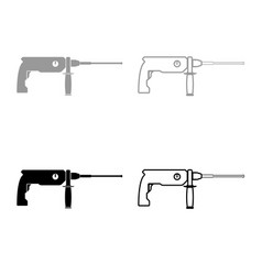 Rotary hammer demolition icon outline set grey vector