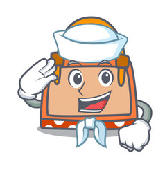 sailor hand bag character cartoon vector image