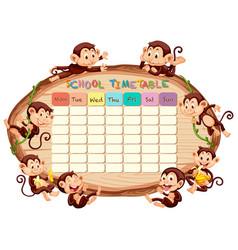 School timetable with monkeys vector