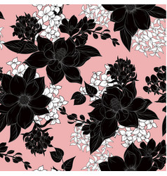 seamless pattern with monochrome graphic flowers vector image