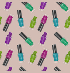 Seamless pattern with realistic nail polishes vector