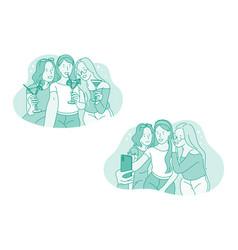 selfie smartphone party vector image