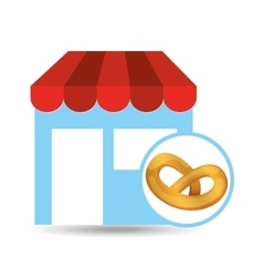 selling fresh pretzel vector image