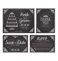set wedding invitations in vintage style vector image