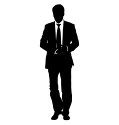 silhouette businessman man in suit with tie on a vector image vector image