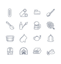 Spa sauna linear icons washcloth soap ladle vector