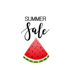 Summer sale calligraphy watermelon background vector