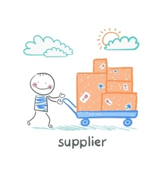 supplier walks with a cart of goods vector image