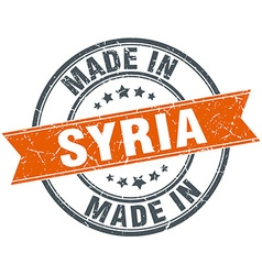Syria orange grunge ribbon stamp on white vector