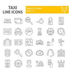taxi thin line icon set car symbols collection vector image