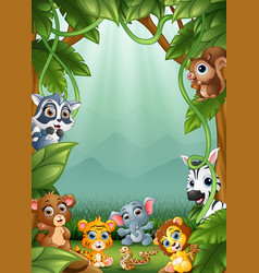 the little animals an a forest vector image