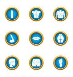 Toned body icons set flat style vector