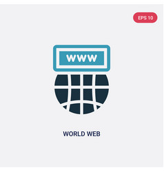 two color world web icon from web concept vector image