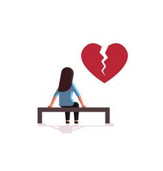 Unhappy sad woman in depression having vector