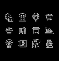 urban infrastructure black line icons set vector image