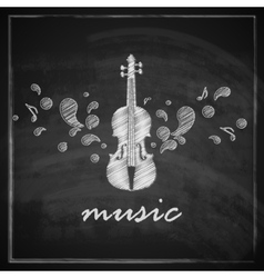 vintage with the violin on blackboard background vector image