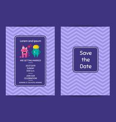 wedding invitation template with cartoon vector image