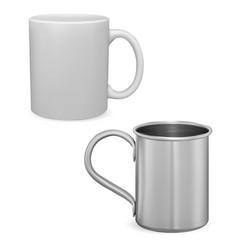 white coffee cup mockup silver metal mug isolated vector image