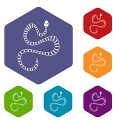 White striped snake icons set hexagon vector