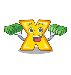 With money cartoon multiply sign for calculate vector