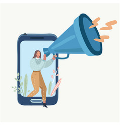 woman with megaphone speaking out screen vector image