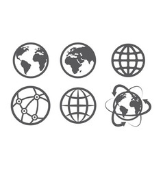 Globe earth icons set on white background vector image vector image