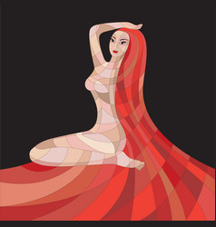mosaic woman with red hair on black background vector image