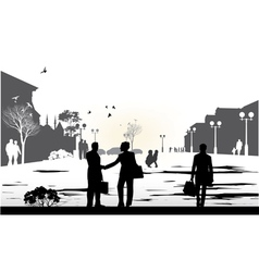 people gray silhouettes vector image vector image
