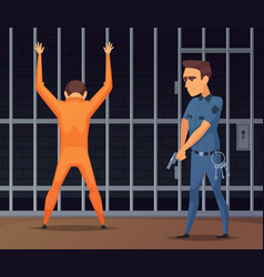 prisoners on inspection near the camera vector image