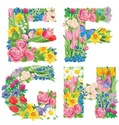 Alphabet of flowers EFGH vector image vector image