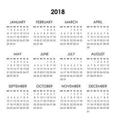 Calendar 2018 year vector
