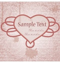grungy background with heart frame vector image vector image