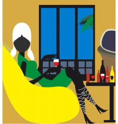 lady relaxing vector image vector image