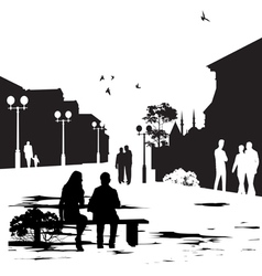 people in city park vector image vector image