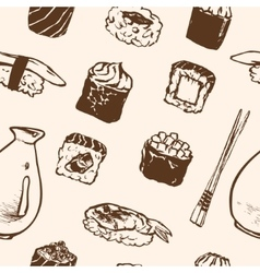 Seamless pattern Sushi rolls and japanese seafood vector image vector image