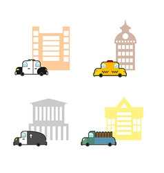 Set cars and buildings Police and Police Station vector image vector image