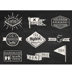 Set of chalk hipster vintage retro labels and log vector image