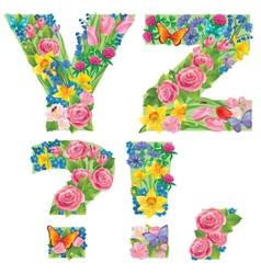 Alphabet of flowers YZ vector image